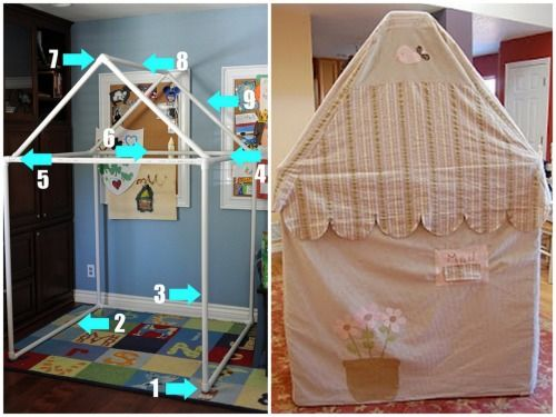DIY PVC Pipe House. I have used PVC pipe and the elbow connectors for a wall divider and a clothes rack and they are really easy to use! Tutorial from Angry Julie Monday here (photo on left), finished house using the same pipe and design from Sweetest Littles here (photo on right).