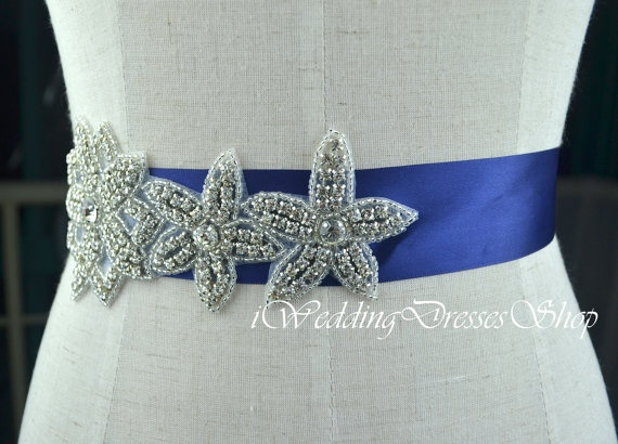 Crystal bridal sash belt beaded satin royal blue wedding for Blue sash for wedding dress