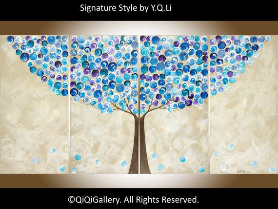 Blue art Abstract Landscape 72 Tree Painting Large by QiQiGallery