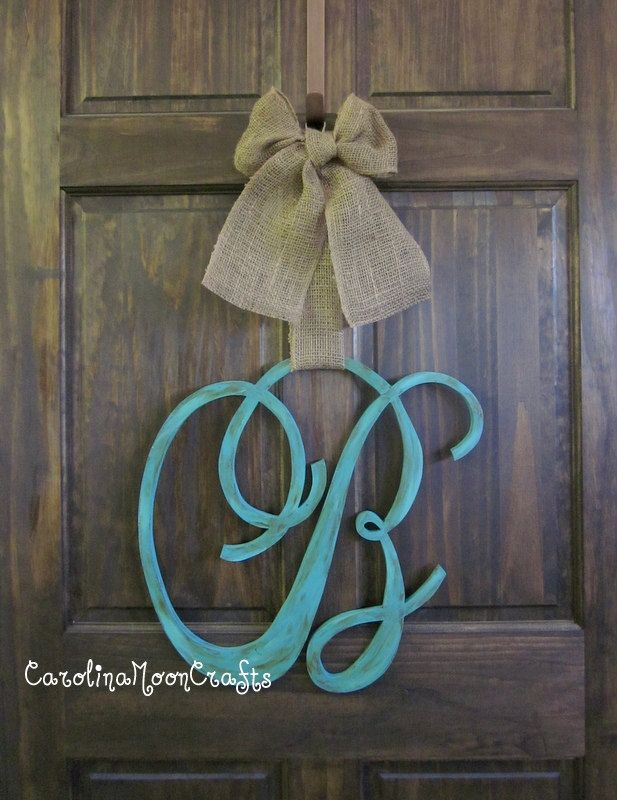 Single letter monogram wooden door decor all things for Individual wooden letters