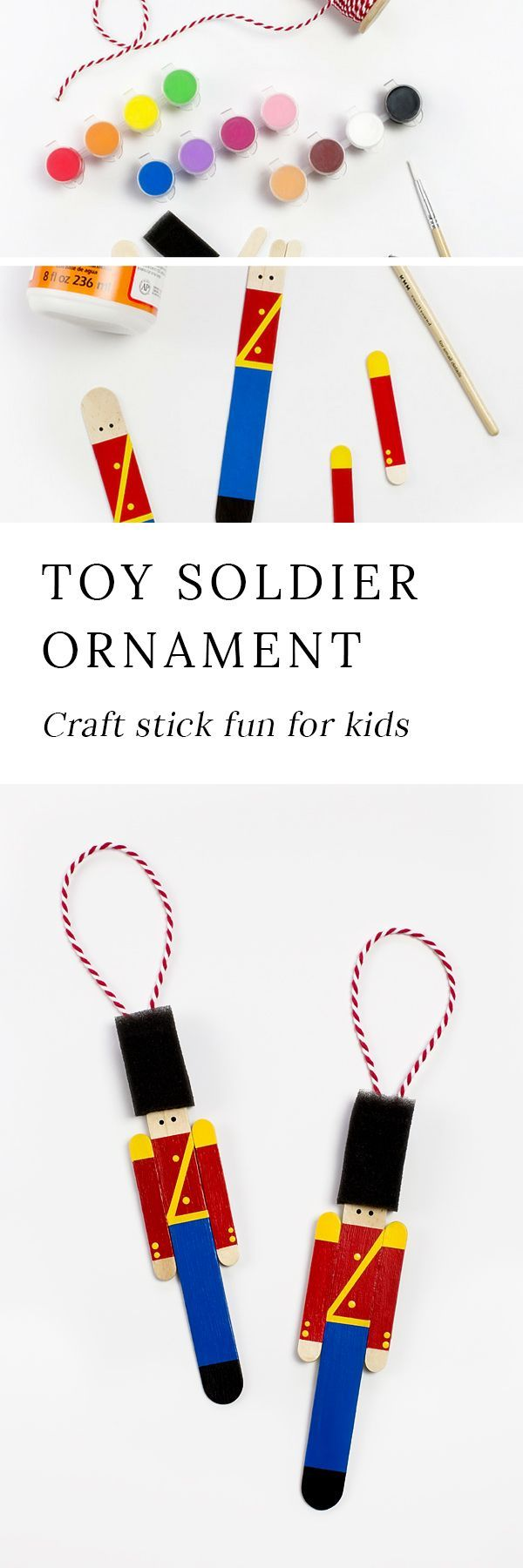 Crafters of all ages will enjoy this creative Christmas craft stick craft. These Toy Soldier Ornaments are a cute Christmas craft for home, school, or scouts! #christmasornaments #craftsticks #diyornaments