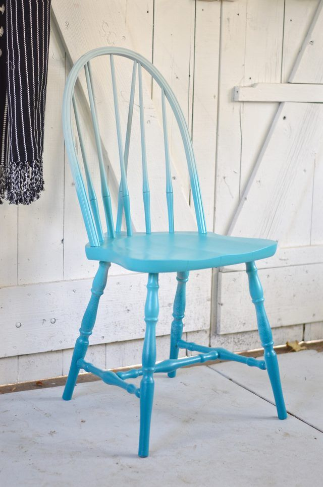 With a simple ombre technique, transform a basic wooden chair into a furniture piece that is trendy and chic.