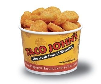 Taco Johns Potato Ole Seasoning: 4 tsp Lawrys seasoning salt 2 tsp paprika 1 tsp ground cumin 1 tsp cayenne pepper Mix all ingredients. Sprinkle on tator tots or crispy crowns. Bake tots or crowns following instructions on package.  ~Try this Taco John's Potato Ole Seasoning recipe on all sorts of potato dishes. My favorite application is on hash browns in the morning with my eggs.