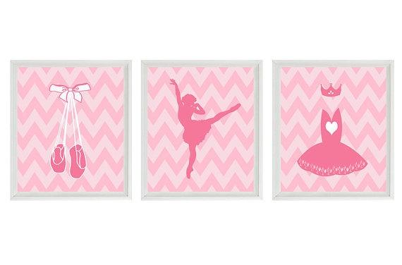 Ballet Art Print Set  Pink Chevron Nursery by RizzleandRugee, $42.00