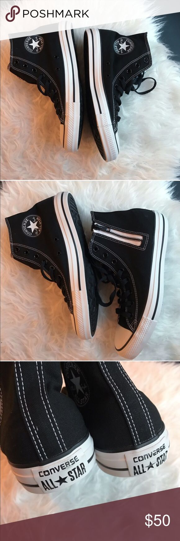 NIB Converse Chuck Taylor high tip sneakers Brand new in box. Black and white Chuck Taylor side zip high top sneakers Converse Shoes Sneakers