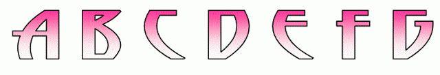 Alfabeto fuente original Monster High en rosa degradado.