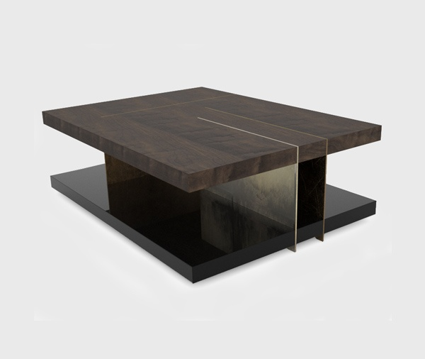 Lallan center table combines four different materials and for Center table coffee table