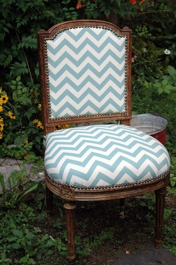 French Side Chair with Chevron Fabric.