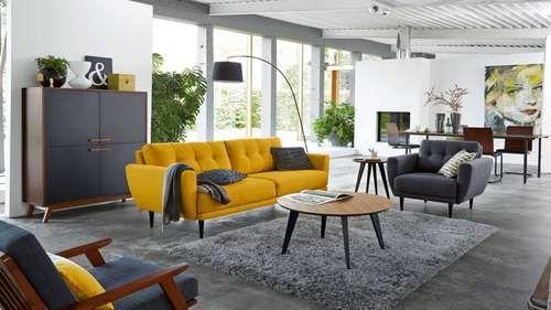 canapé jaune style vintage gris salon