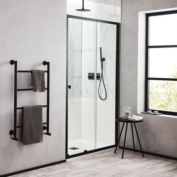 Noir 1200mm Matt Black Sliding Shower Door Bathstore Shower Doors Sliding Shower Door Shower Enclosure