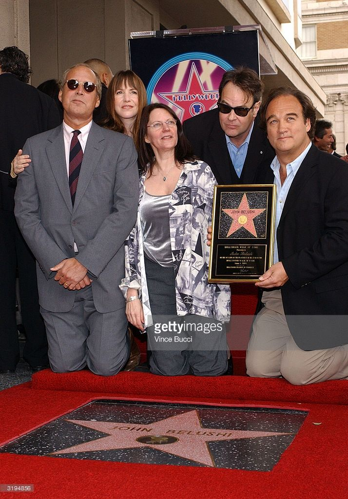 Actor Chevy Chase, actress Laraine Newman, John Belushi's widow - Judith Jacklin Belushi Pisano, and actors Dan Aykroyd and Jim Belushi attend the ceremony posthumously honoring actor/comedian John Belushi with a star on the Hollywood Walk of Fame on April 1, 2004 in Hollywood, California.