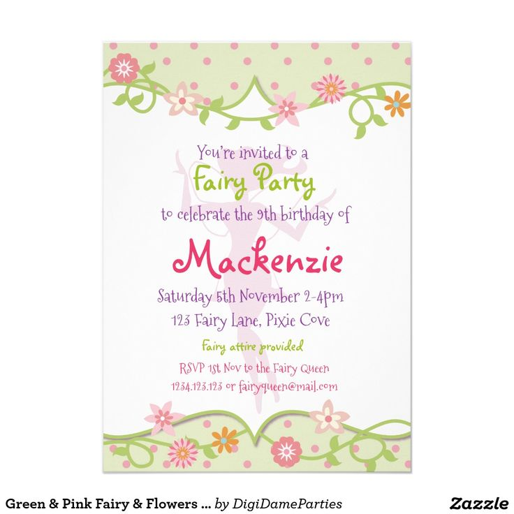 Green & Pink Fairy & Flowers Party Invitation by The Digi Dame Parties on Zazzle www.zazzle.com/digidameparties*