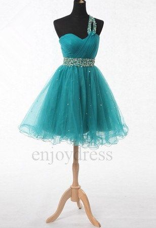 Custom Turquoise Beaded Short Bridesmaid Dresses by enjoydress, $86.00
