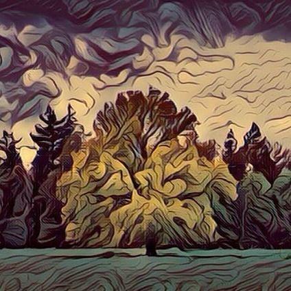 Lonely tree in the middle of a nearby storm (Fauvism style). Árbol solitario en medio de una cercana tormenta (estilo fauvismo). #arbol #arboles #tree #trees #forest #forests #art #arts #arte #artes #fauvism #fauvismo #bosque #bosques