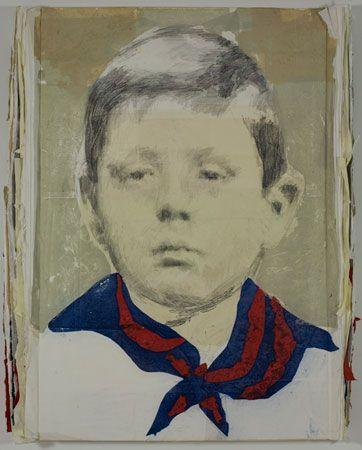 LOUIS BOUDREAULT, Winston Churchill, 2009 (graphite, charbon, pastel, acrylique, collage,papier) Photo Kevin Bertram