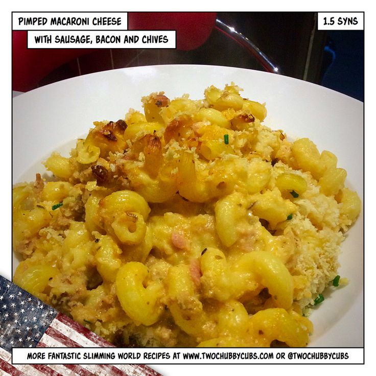 A Slimming World friendly macaroni cheese - but with the additon of slimming sausages, bacon and chives, it's a whole new level!