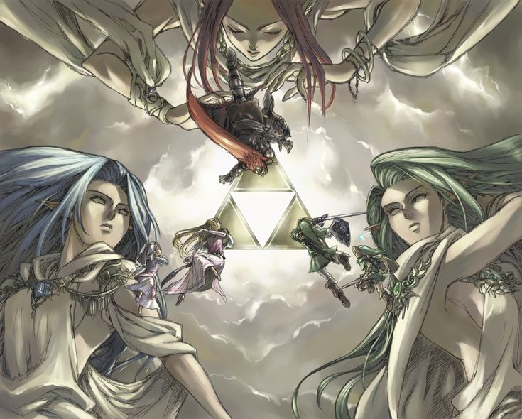 The Triforce. Ganondorf, Young and Adult Princess Zelda, and Young and Adult Link (with Navi the fairy). The Golden Goddesses Din, Nayru, and Farore - The Legend of Zelda: Ocarina of Time