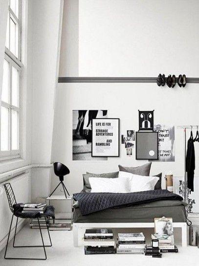 Idee carine per decorare la camera - Idee per decorare la camera da letto nelle tonalità del bianco e del nero.