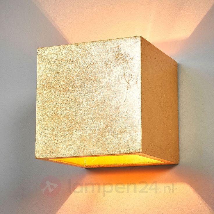 Vierkante wandlamp Yade, goud veilig & makkelijk online bestellen op lampen24.nl