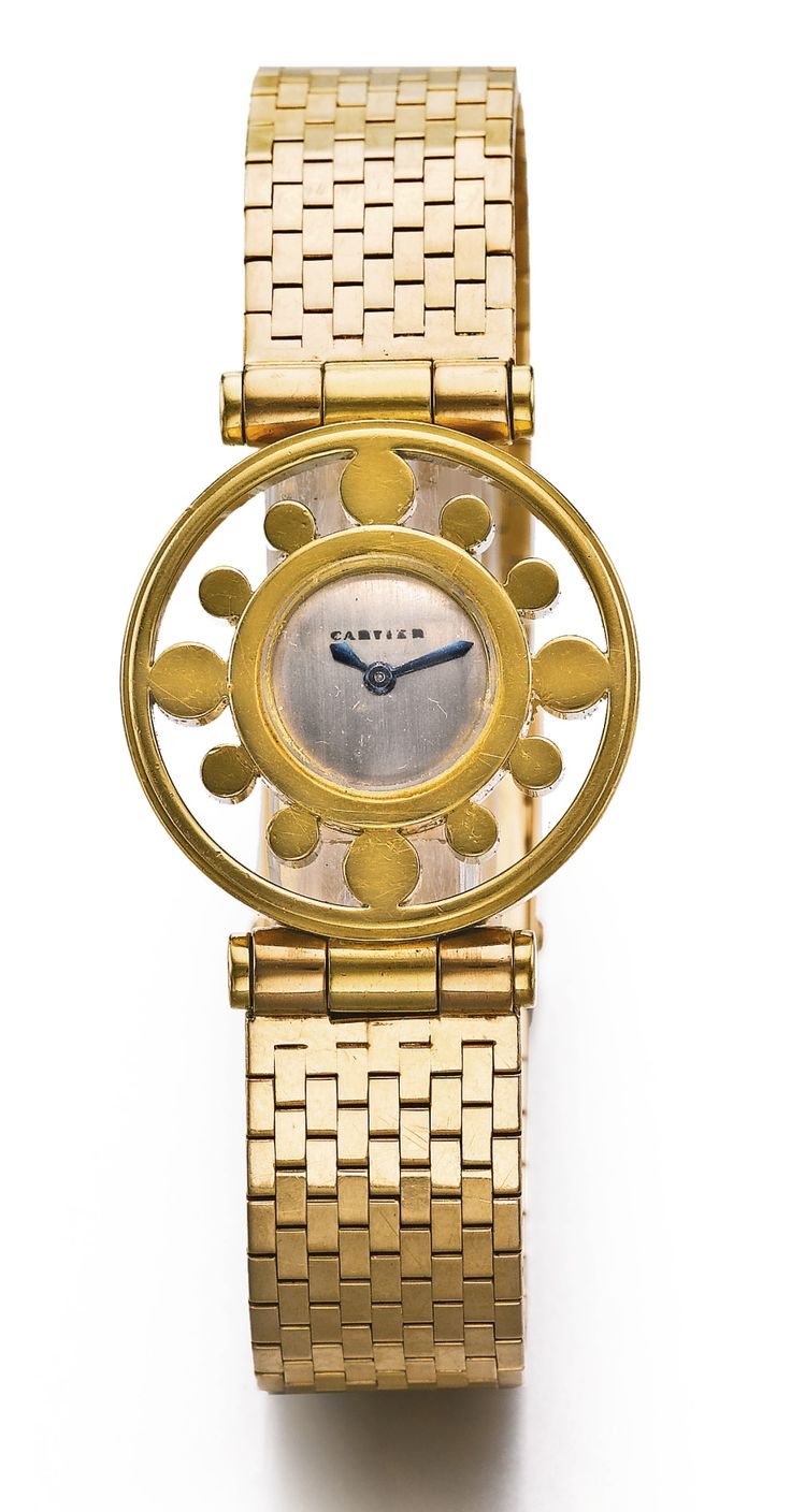 CARTIER A LADY'S FINE AND RARE YELLOW GOLD BRACELET WATCH CIRCA 1950 'HELM'