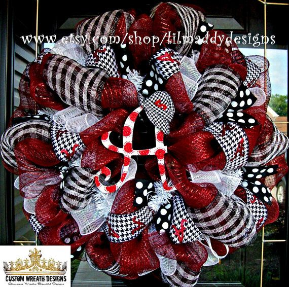 Deco Mesh Houndstooth Alabama Wreath with Hat by lilmaddydesigns
