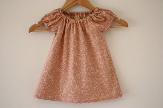 Toddler Dress | Cotton | Dusty Pink Paisley | Girls Dress | Party Dress | Peasant Dress | Made in Australia
