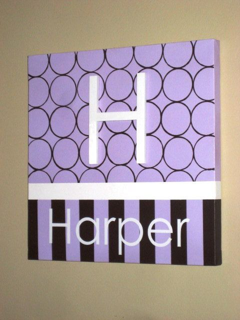 "Wall Words Hand-Painted Wood on Canvas- 12"" x 12"" Initial and Name. Made to order- choose colors,"