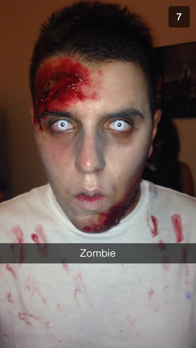 Zombie - makeup done by me - male Halloween makeup