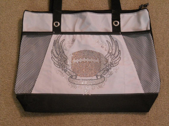 Football Rhinestone Tote Bag by AndMoreSportsApparel on Etsy, $27.00