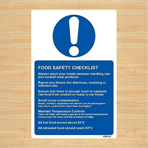 Food Safety Checklist Sticker Sign For Kitchen 13x20cm