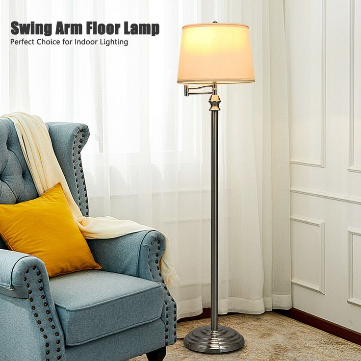Swing Arm LED Floor Lamp with Hanging Fabric Shade in 2020