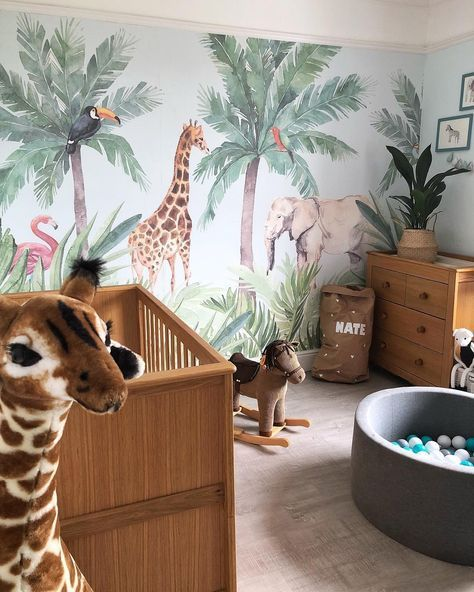 Watercolour Jungle Nursery Wall Mural Baby In 2019 Nursery
