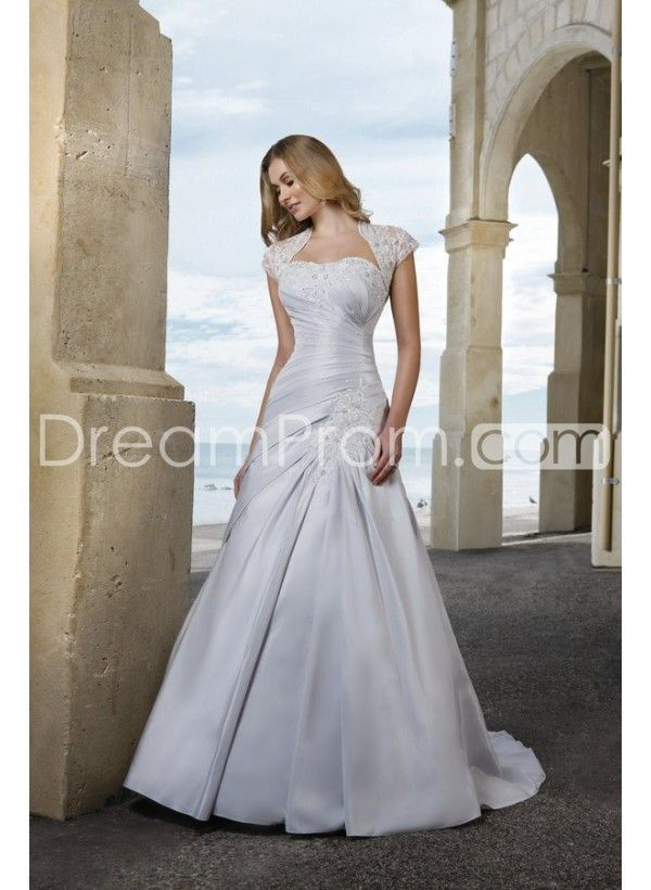 Charming A-line/Princess Strapless Chapel Train Ruched ...