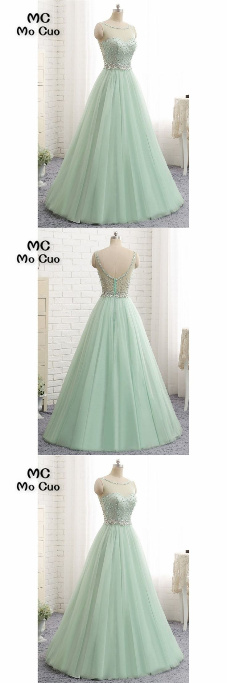 Illusion Prom dresses Long with Crystals Beaded Sweep Train Tulle Backless dress for graduation Formal Evening Prom Dress