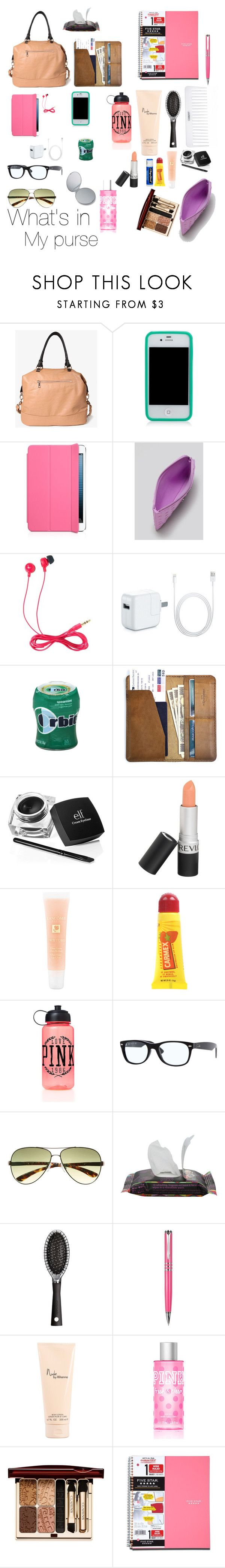 """What's in my purse?"" by justbreana ❤ liked on Polyvore featuring Forever 21, Tory Burch, Marc by Marc Jacobs, Jack Wills, CO, Revlon, Lancôme, Carmex, Chapstick and Victoria's Secret PINK"