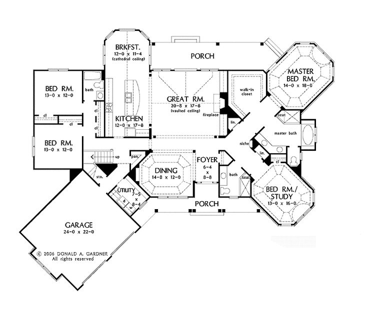 Floor Plans AFLFPW75321 - 1 Story Craftsman Home with 4 Bedrooms, 3 Bathrooms and 2,856 total Square Feet