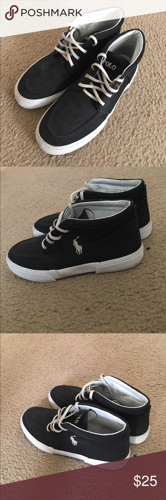 Black and White High-Top Polo Shoes Worn a couple times, they go well with various outfits, and you won't find this price anywhere else! Polo by Ralph Lauren Shoes Sneakers