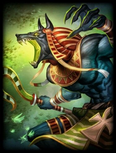 Jackal-headed Anubis holds the ultimate judgment over the dead, measuring every heart against the weight of the feather of Truth. - artist not credited but the image comes from the online game SMITE, where you play in the battleground of the gods.