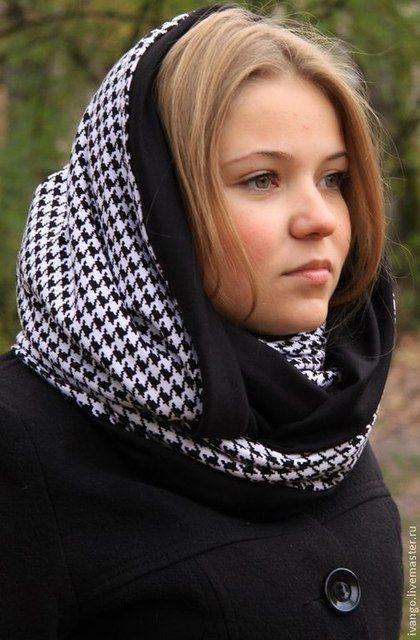 "Снуд ""Гусиная лапка"" - чёрно-белый,гусиная лапка,снуд,шарф,хомут,снуды"