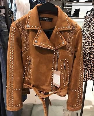 703c43f5 ZARA CAMEL STUDDED FAUX SUEDE JACKET SIZES XS / S / M / L / XL NEW ! Jjd