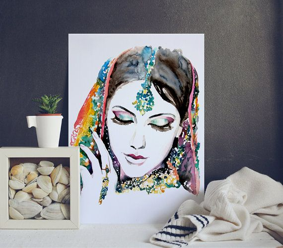 Woman Portrait  Watercolor Illustration  by WatercolorMary on Etsy