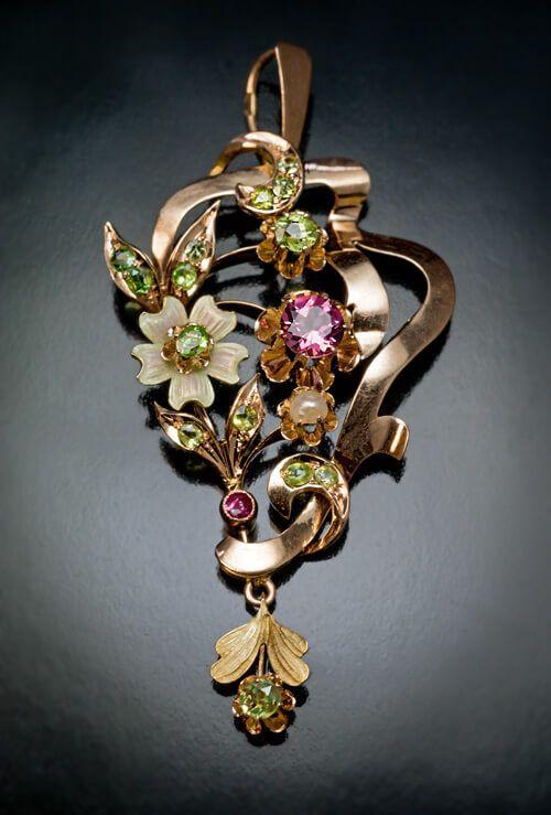 Antique Russian Art Nouveau Jeweled Gold Pendant - Antique Jewelry | Vintage Rings | Faberge Eggs