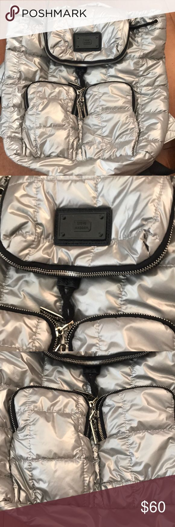 Steve Madden metallic silver backpack quilted New no tags Steve Madden Bags Backpacks