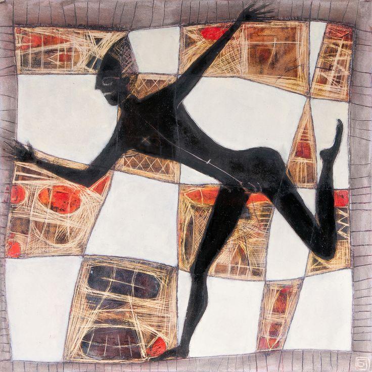 Serie alfombras mágicas: mago 1 tecnica mixta spbre madera  45 x 45 cm 2011