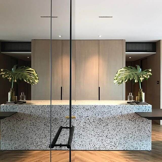 Custom Kitchen Terrazzo Countertop Photo Source Outline Projects - recouvrir carrelage mural cuisine