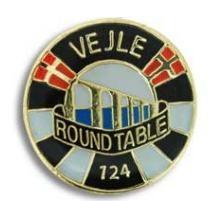 Round Table 124 Vejle. Den RT pin er fremstillet hos Jydsk Emblem Fabrik A/S