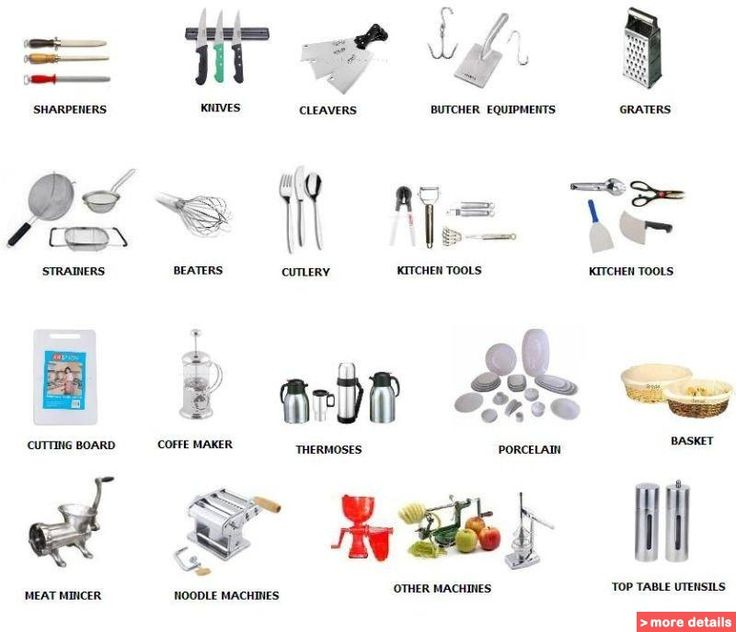 Kitchen utensils equipment names cooking utensils for Lista utensili da cucina
