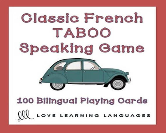 Playing French TABOO is a great way to get students to speak French and learn a lot of new vocabulary. This game is simple to modify and use with beginners and advanced students alike. In this classic version of the game there is no particular vocabulary theme. 100 French-English cards