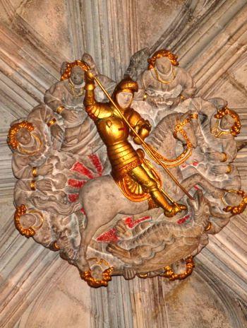 Relleu de Sant Jordi al sostre del Palau de la Generalitat. Barcelona (Catalonia)