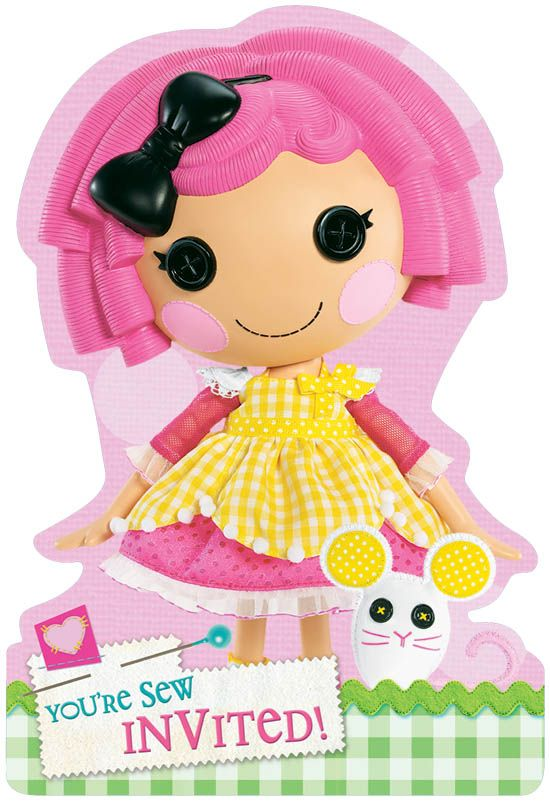 """Lalaloopsy birthday party invites -- """"you're sew invited!"""" Cute!"""
